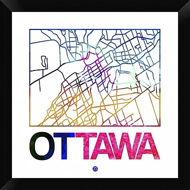 Naxart 'Ottawa Watercolor Street Map' Framed Graphic Art Print on Canvas; 20'' H x 20'' W x 1.5'' D