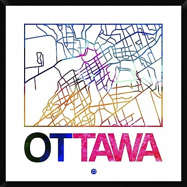 Naxart 'Ottawa Watercolor Street Map' Framed Graphic Art Print on Canvas; 42'' H x 42'' W x 1.5'' D