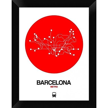 Naxart 'Barcelona Red Subway Map' Framed Graphic Art Print on Canvas; 18'' H x 14'' W x 1.5'' D