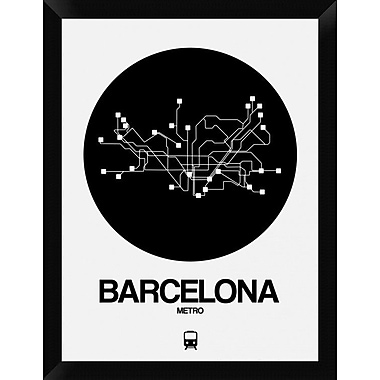 Naxart 'Barcelona Black Subway Map' Framed Graphic Art Print on Canvas; 26'' H x 20'' W x 1.5'' D