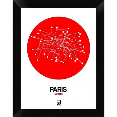 Naxart 'Paris Red Subway Map' Framed Graphic Art Print on Canvas; 18'' H x 14'' W x 1.5'' D