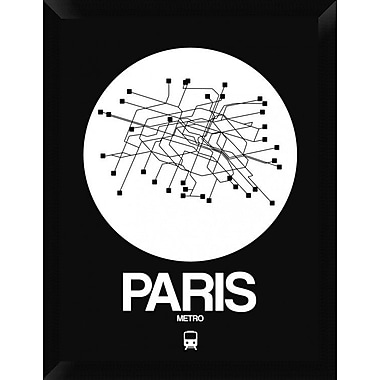 Naxart 'Paris White Subway Map' Framed Graphic Art Print on Canvas; 26'' H x 20'' W x 1.5'' D