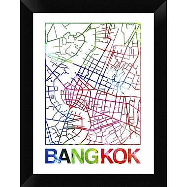 Naxart 'Bangkok Watercolor Street Map' Framed Graphic Art Print on Canvas; 18'' H x 14'' W x 1.5'' D