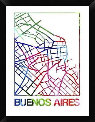 Naxart 'Buenos Aires Watercolor Street Map' Framed Graphic Art Print on Canvas
