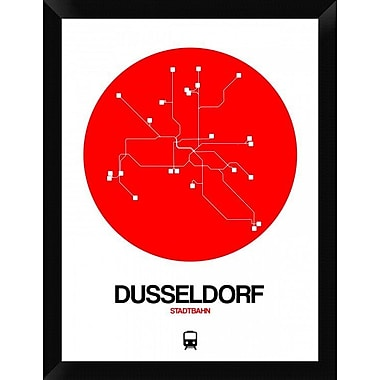 Naxart 'Dusseldorf Red Subway Map' Framed Graphic Art Print on Canvas; 26'' H x 20'' W x 1.5'' D