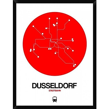 Naxart 'Dusseldorf Red Subway Map' Framed Graphic Art Print on Canvas; 42'' H x 32'' W x 1.5'' D