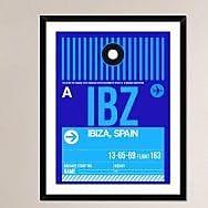 Naxart 'IBZ Ibiza Luggage Tag II' Framed Graphic Art Print; 38'' H x 30'' W x 1.5'' D