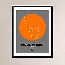 Naxart 'Rio De Janeiro Orange Subway Map' Framed Graphic Art Print; 38'' H x 30'' W x 1.5'' D