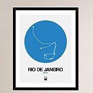 Naxart 'Rio De Janeiro Blue Subway Map' Framed Graphic Art Print; 38'' H x 30'' W x 1.5'' D