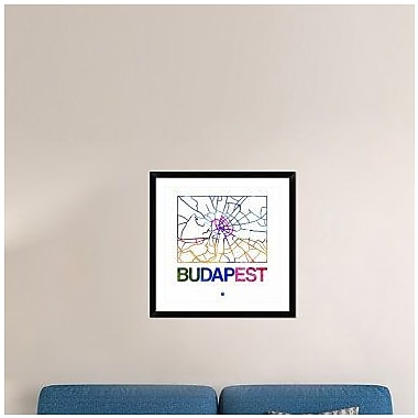 Naxart 'Budapest Watercolor Street Map' Framed Graphic Art Print; 30'' H x 30'' W x 1.5'' D