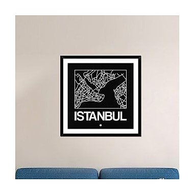 Naxart 'Black Map of Istanbul' Framed Graphic Art Print; 36'' H x 36'' W x 1.5'' D