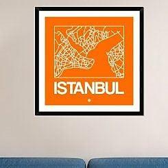Naxart 'Orange Map of Istanbul' Framed Graphic Art Print; 36'' H x 36'' W x 1.5'' D