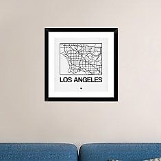 Naxart 'White Map of Los Angeles' Framed Graphic Art Print; 24'' H x 24'' W x 1.5'' D