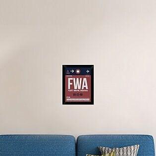 Naxart 'FWA Fort Wayne Luggage Tag II' Framed Graphic Art Print on Canvas; 18'' H x 14'' W x 1.5'' D