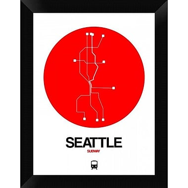 Naxart 'Seattle Red Subway Map' Framed Graphic Art Print on Canvas; 18'' H x 14'' W x 1.5'' D