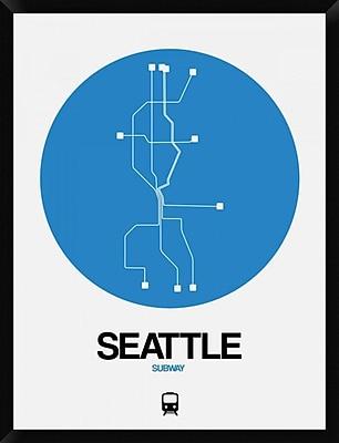 Naxart 'Seattle Blue Subway Map' Framed Graphic Art Print on Canvas; 42'' H x 32'' W x 1.5'' D
