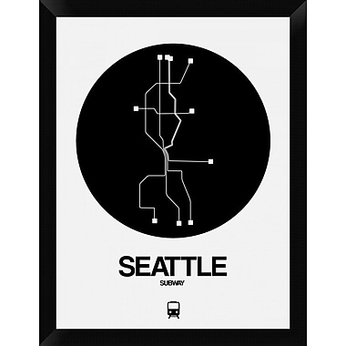 Naxart 'Seattle Black Subway Map' Framed Graphic Art Print on Canvas; 26'' H x 20'' W x 1.5'' D