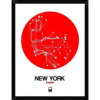 Naxart 'New York Red Subway Map' Framed Graphic Art Print on Canvas; 34'' H x 26'' W x 1.5'' D