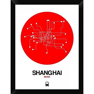 Naxart 'Shanghai Red Subway Map' Framed Graphic Art Print on Canvas; 26'' H x 20'' W x 1.5'' D