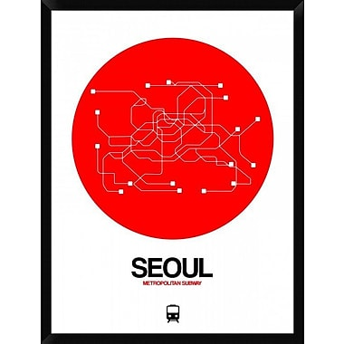 Naxart 'Seoul Red Subway Map' Framed Graphic Art Print on Canvas; 42'' H x 32'' W x 1.5'' D