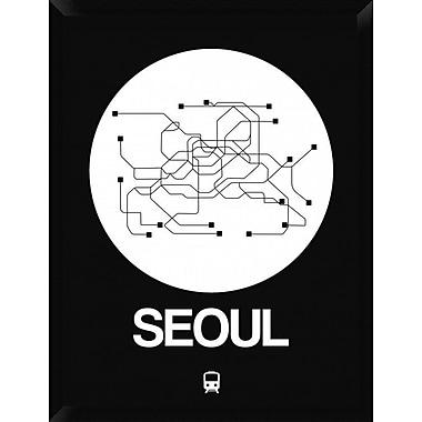 Naxart 'Seoul White Subway Map' Framed Graphic Art Print on Canvas; 34'' H x 26'' W x 1.5'' D