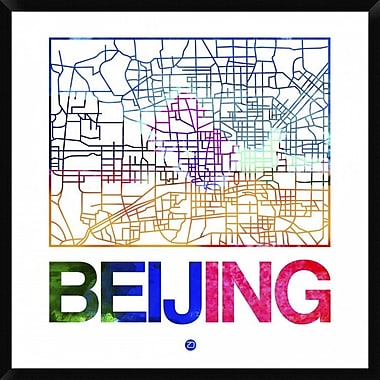 Naxart 'Beijing Watercolor Street Map' Framed Graphic Art Print on Canvas; 42'' H x 42'' W x 1.5'' D