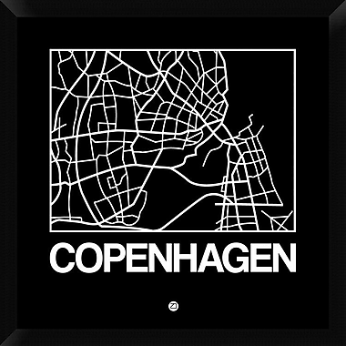 Naxart 'Black Map of Copenhagen' Framed Graphic Art Print on Canvas; 26'' H x 26'' W x 1.5'' D