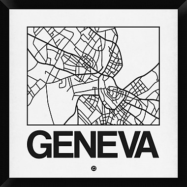 Naxart 'White Map of Geneva' Framed Graphic Art Print on Canvas; 26'' H x 26'' W x 1.5'' D