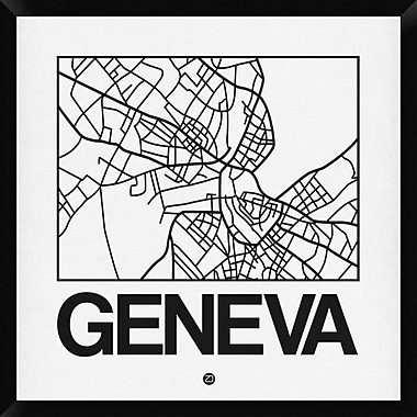 Naxart 'White Map of Geneva' Framed Graphic Art Print on Canvas; 32'' H x 32'' W x 1.5'' D
