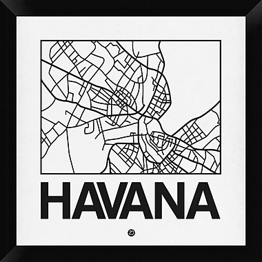 Naxart 'White Map of Havana' Framed Graphic Art Print on Canvas; 20'' H x 20'' W x 1.5'' D