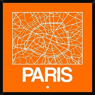 Naxart 'Orange Map of Paris' Framed Graphic Art Print on Canvas; 42'' H x 42'' W x 1.5'' D