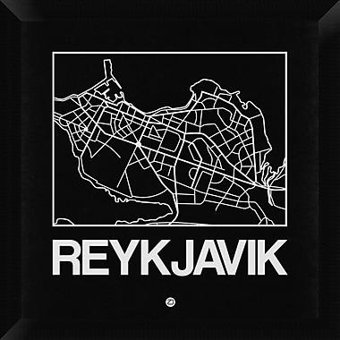 Naxart 'Black Map of Reykjavik' Framed Graphic Art Print on Canvas; 20'' H x 20'' W x 1.5'' D