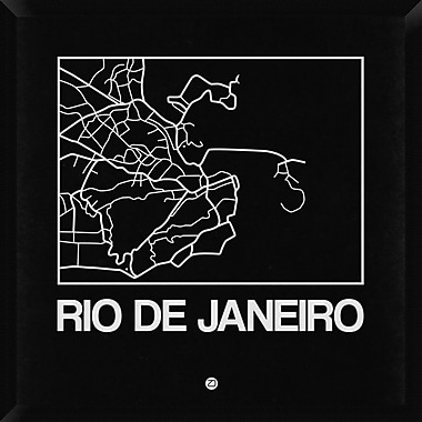 Naxart 'Black Map of Rio De Janeiro' Framed Graphic Art Print on Canvas; 32'' H x 32'' W x 1.5'' D