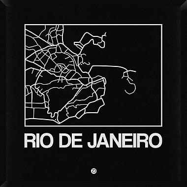 Naxart 'Black Map of Rio De Janeiro' Framed Graphic Art Print on Canvas; 38'' H x 38'' W x 1.5'' D
