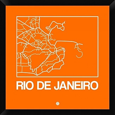 Naxart 'Orange Map of Rio De Janeiro' Framed Graphic Art Print on Canvas; 26'' H x 26'' W x 1.5'' D