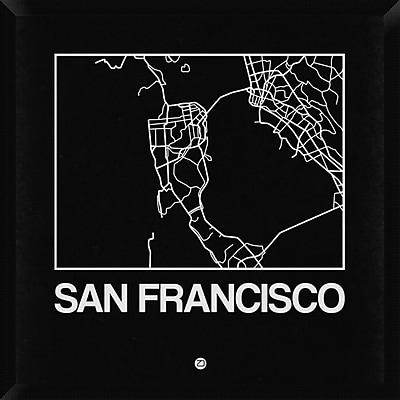 Naxart 'Black Map of San Francisco' Framed Graphic Art Print on Canvas; 32'' H x 32'' W x 1.5'' D