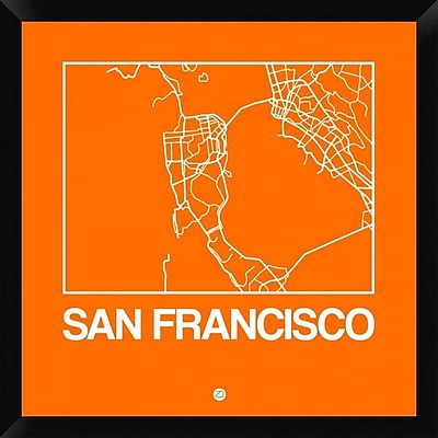 Naxart 'Orange Map of San Francisco' Framed Graphic Art Print on Canvas; 26'' H x 26'' W x 1.5'' D