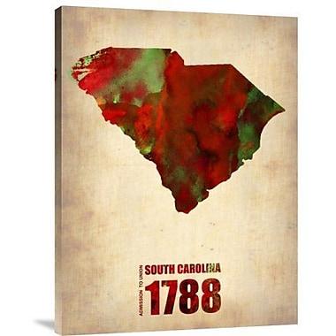 Naxart 'South Carolina Watercolor Map' Graphic Art Print on Canvas; 40'' H x 30'' W x 1.5'' D