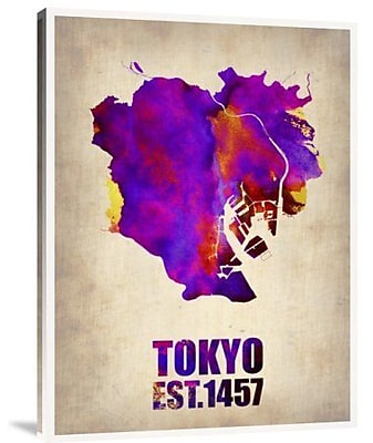 Naxart 'Tokyo Watercolor Map 2' Graphic Art Print on Canvas; 32'' H x 24'' W x 1.5'' D