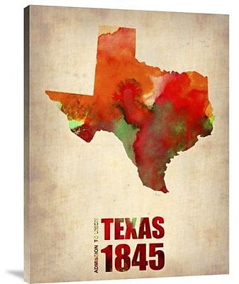 Naxart 'Texas Watercolor Map' Graphic Art Print on Canvas; 16'' H x 12'' W x 1.5'' D