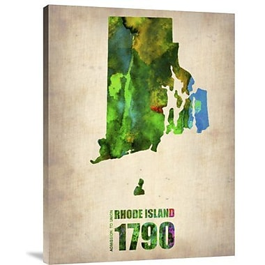 Naxart 'Rhode Island Watercolor Map' Graphic Art Print on Canvas; 24'' H x 18'' W x 1.5'' D