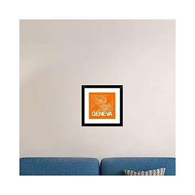 Naxart 'Orange Map of Geneva' Framed Graphic Art Print; 18'' H x 18'' W x 1.5'' D