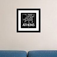 Naxart 'Black Map of Athens' Framed Graphic Art Print; 18'' H x 18'' W x 1.5'' D