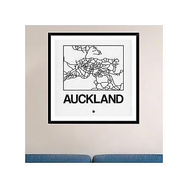 Naxart 'White Map of Auckland' Framed Graphic Art Print; 18'' H x 18'' W x 1.5'' D