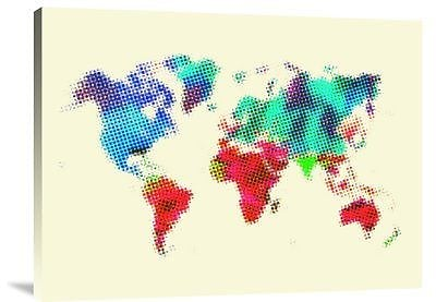 Naxart 'Dotted World Map 4' Graphic Art Print on Canvas; 12'' H x 16'' W x 1.5'' D