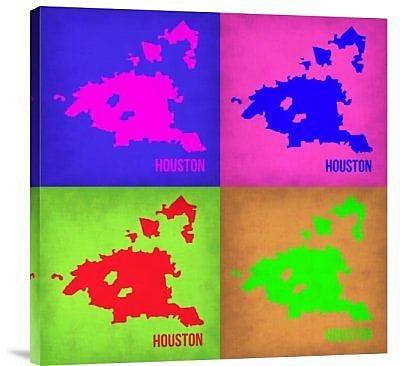 Naxart 'Houston Pop Art Map 1' Graphic Art Print on Canvas in Pink; 40'' H x 40'' W x 1.5'' D