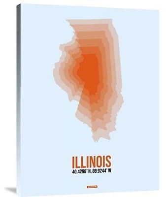 Naxart 'Illinois Radiant Map 2' Graphic Art Print on Canvas; 24'' H x 18'' W x 1.5'' D