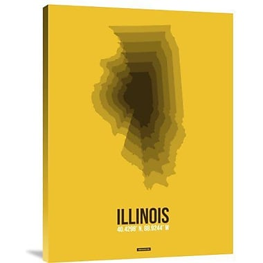 Naxart 'Illinois Radiant Map 3' Graphic Art Print on Canvas; 32'' H x 24'' W x 1.5'' D