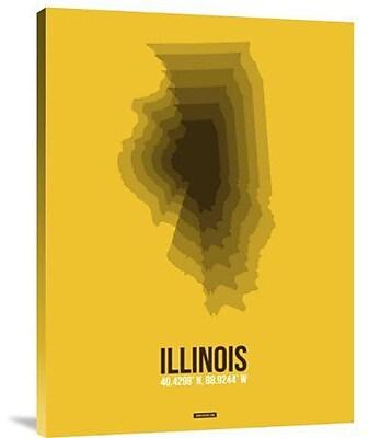 Naxart 'Illinois Radiant Map 3' Graphic Art Print on Canvas; 32'' H x 24'' W x 1.5'' D