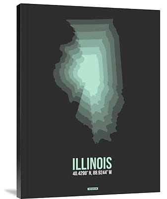 Naxart 'Illinois Radiant Map 4' Graphic Art Print on Canvas; 40'' H x 30'' W x 1.5'' D